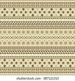 Seamless pattern with Maya style elements in brown, white, sand colors. Horizontal chain of various geometric shapes forming beautiful ethnic ornament. Vector illustration for creative design