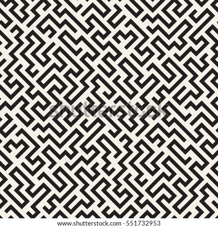 Seamless Pattern Maze Labyrinth Monochrome Abstract Stock Vector Beauteous Labyrinth Pattern