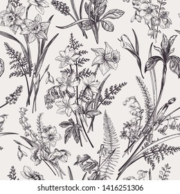 Seamless pattern with meadow and garden flowers and plants.