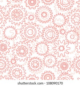 Seamless pattern with mechanical gears and cogwheels.
