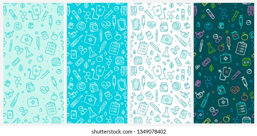 Seamless pattern of Medical flat line icons and Pharmacy symbols of First aid kit, pils, thermometer, vitamins. Medicine and Pharmacy elements outline icons isolated on white background