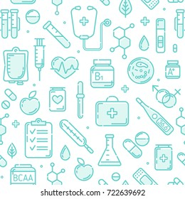 Seamless pattern of Medical flat line icons. Medicine and Pharmacy elements outline icons isolated on white background. Pharmacy symbols set of First aid kit, thermometer, vitamins. Endless pattern