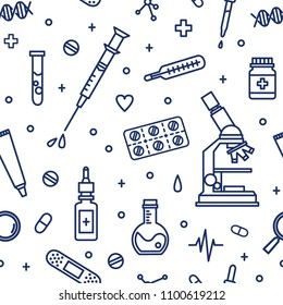 Seamless pattern with medical lab equipment. Backdrop with attributes of medicine, pharmaceutics, cure and treatment drawn with contour lines on white background. Vector illustration in lineart style.