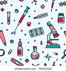 Seamless pattern with medical laboratory equipment. Backdrop with attributes of medicine, biomedicine, clinical trial, research and experiment. Vector illustration in line art style for wallpaper.