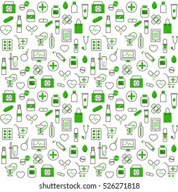 Seamless Pattern With Medical and Pharmacy Icons in Thin Line Style. Collection of Line Web Icons of Drugstore and Chemist's. Vector template for your design.