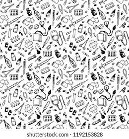 Seamless pattern with medical supplies. Vector background illustration. Medical black and white seamless pattern, clinic vector background. Hospital doodle style elements.