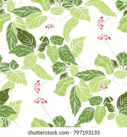 Seamless pattern with medicinal Ginseng plant
