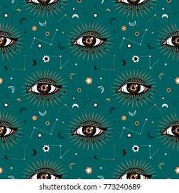 Seamless pattern in medieval celestial style. Bohemian, gypsy motifs.