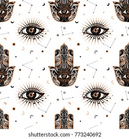 Seamless pattern in medieval celestial style with eye and hamsa or fatima amulet. Bohemian, gypsy motifs.