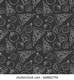 seamless pattern of melted pizza with vegetables using sketchy or hand drawing style on black background