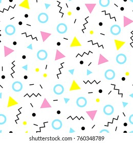 A seamless pattern in the memphis style. An excellent illustration for children's clothing, fabrics, templates of social networks and other surfaces.