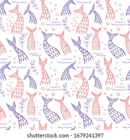 Seamless pattern with mermaid tails. Childish design. Vector illustration. Mermaids, fishes tails seamless pattern vector cartoon sea design.