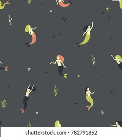 Seamless pattern with mermaids on a grey background