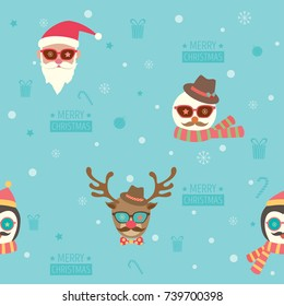 Seamless pattern of Merry christmas background design with santa claus, snowman, reindeer and penguin put on accessories of hipster style.