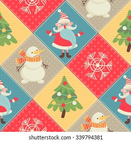 Seamless pattern. Merry Christmas. Patchwork