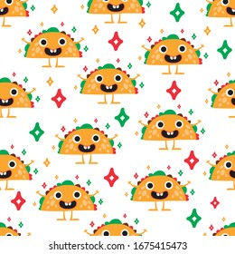 Seamless Pattern With Mexican Taco. Cute cartoon taco. Mexican food vector background.