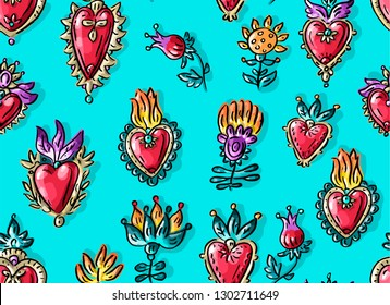 Seamless pattern with mexican Valentine's day flowers hearts