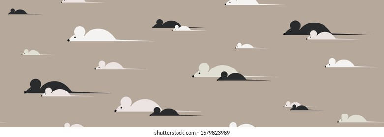Seamless pattern with mice. Mice walk alone and in pairs. Simple creamy toned background. Vector illustration.