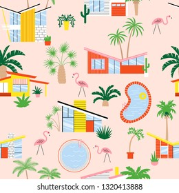 Seamless pattern with mid century modern houses and palms