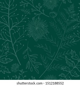 Seamless pattern. Midnight green. Exotic plants. Branches and leaves. Color trend palette. Shade of green. Fashion color.