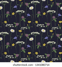 Seamless pattern midsummer flowers, vector