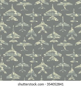 Seamless pattern with military airplanes number two can be used for graphic design, textile design or web design.