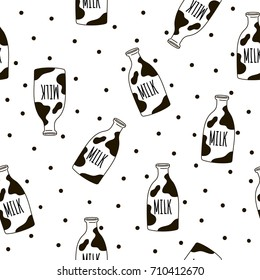Seamless pattern with milk bottles. Vector template for wrapping paper, bedding pattern for kids, print on clothes.