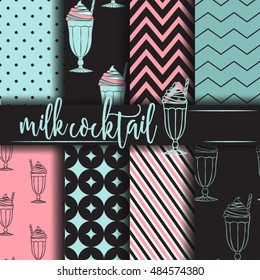 Seamless pattern with milk cocktail Vector Background Set of seamless backgrounds. Vector image for kids, for menu