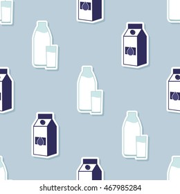Seamless pattern with milk icons for your design