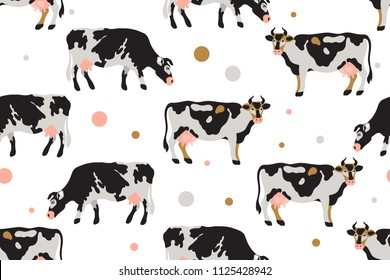Seamless pattern with milk spotted cows in black, white, gray, gold and pink. Agriculture, farming, village life. Pet. Vector illustration.