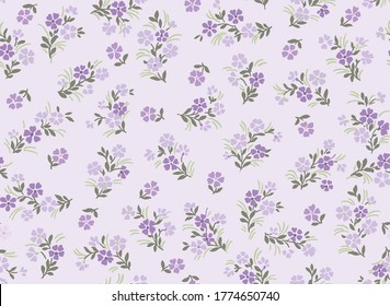 Seamless pattern of millefleurs in lilac colors, small flower repeat, romantic mood
