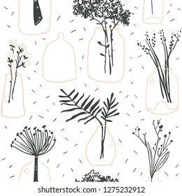 Seamless pattern with minimalistic elegant glass vases with plants, flowers and leaves. Scandinavian hygge elements perfect for textile, fabric, posters, cards