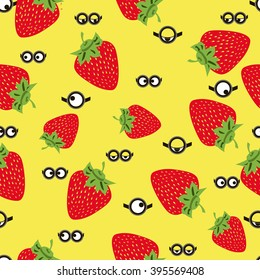 Seamless pattern with minion and realistic strawberries. Vector for packaging, clothing, T-shirts. Two eyes glasses or goggles with strawberries. Cartoo, sight design, pop-eyed funny. Vector