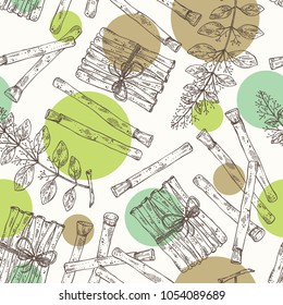Seamless pattern with miswak, siwak: natural toothbrush, plant, branch and leaves. Vector hand drawn illustration.