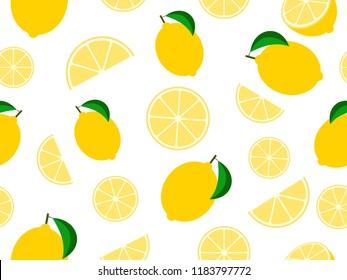 Seamless pattern mixed lemon fruit background - Vector illustration