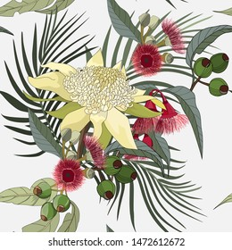 seamless pattern of mixed native australia wild flower, yellow waratah and gum nut with red flower