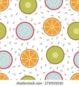 Seamless pattern mixed orange fruit background - Vector illustration