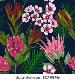 seamless pattern of mixed red ice and king protea,leucadendron,australia native plant