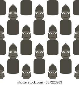 seamless pattern. Moai statue. vector illustration