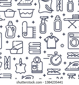 Seamless pattern with modern flat icons for laundry, dry cleaning, housekeeping services. Vector illustration.