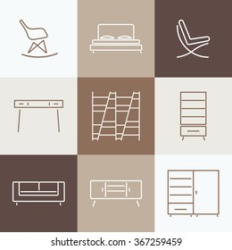 Seamless pattern with modern Furniture. Template for design. Collection of furniture icons.Elements of living room,bedroom,hallway.Loft, modern style.Vector illustration