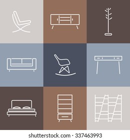 Seamless pattern with modern Furniture.Template for design Background, Cards,Web,Cover,Catalog.Furniture icon,furniture design,furniture pattern.Elements of living room,bedroom.Line style.Vector
