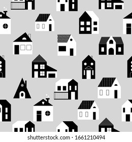 Seamless pattern with modern houses. Vector background with various shapes of buildings. Can be used for wallpaper, packaging, textile.