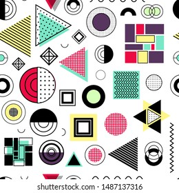 Seamless pattern with modern shapes and textures - wave, dots, stripes. Minimalistic geometric forms, trend colors - сrimson, aquamarine, pink. White background.