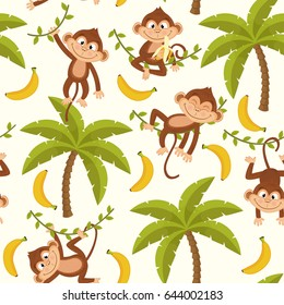seamless pattern with monkey on palm tree  - vector illustration, eps