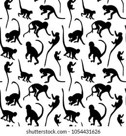 Seamless pattern of monkey silhouettes