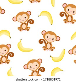 Seamless pattern with monkey and yellow banana. White background. Flat cartoon style. Healthy food. Vegan and vegetarian lifestyle. For children. For postcards, wallpaper, textile and wrapping paper