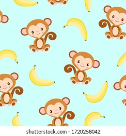 Seamless pattern with monkey and yellow banana. Blue background. Flat cartoon style. Healthy food. Vegan and vegetarian lifestyle. For children. For postcards, wallpaper, textile and wrapping paper