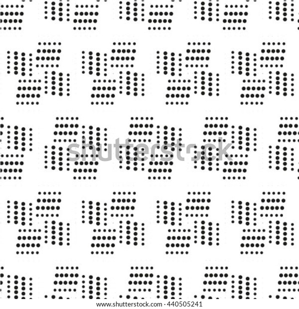 Seamless pattern. Monochrome. Backdrop. Web. Vector illustration. Vintage geometric texture with repeated dots of different sizes.