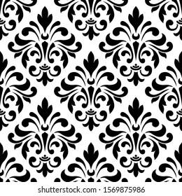 seamless pattern in monochrome colors, baroque ornament, swirls classic